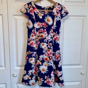 Worthington Floral Fitted w/Flare Dress Sz4